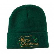 Merry Christmas with Mistletoes Embroidered Long Beanie - Green