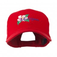 USA State Flower Michigan Apple Blossom Embroidered Cap - Red