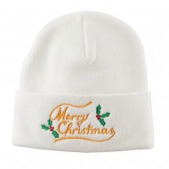 Merry Christmas with Mistletoes Embroidered Long Beanie - White
