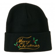Merry Christmas with Mistletoes Embroidered Long Beanie - Black