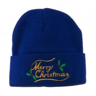 Merry Christmas with Mistletoes Embroidered Long Beanie - Royal