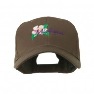 USA State Flower Michigan Apple Blossom Embroidered Cap - Brown