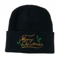 Merry Christmas with Mistletoes Embroidered Long Beanie - Navy