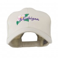 USA State Flower Michigan Apple Blossom Embroidered Cap - Stone