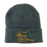 Merry Christmas with Mistletoes Embroidered Long Beanie - Grey