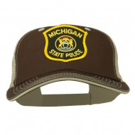 Eastern Michigan State Police Patched Big Washed Mesh Cap - Brown Beige