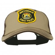 Eastern Michigan State Police Patched Big Washed Mesh Cap - Khaki Brown