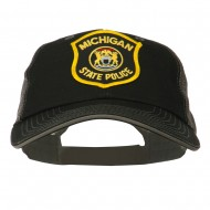 Eastern Michigan State Police Patched Big Washed Mesh Cap - Black Grey