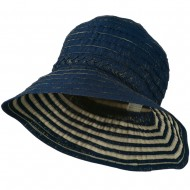 Women's Bucket Shaped Hat with Metallic Detail - Navy Gold
