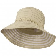 Women's Bucket Shaped Hat with Metallic Detail - Tan Gold