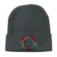 New Years Midnight Clock Embroidered Beanie - Grey