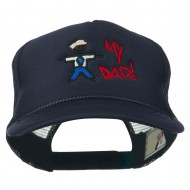 My Dad Embroidered Youth Foam Golf Mesh Cap - Navy