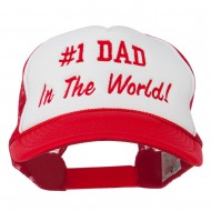 Number 1 Dad In The World Embroidered Foam Mesh Back Cap - Red White Red