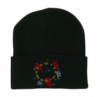 New Years Midnight Clock Embroidered Beanie - Black