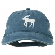 American Moose Embroidered Washed Cap - Navy