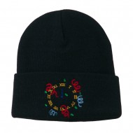 New Years Midnight Clock Embroidered Beanie - Navy