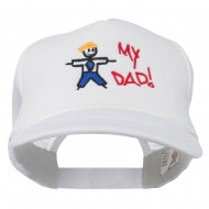 My Dad Embroidered Youth Foam Golf Mesh Cap - White