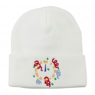 New Years Midnight Clock Embroidered Beanie - White