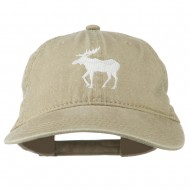 American Moose Embroidered Washed Cap - Khaki