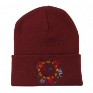 New Years Midnight Clock Embroidered Beanie - Maroon