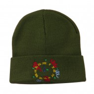 New Years Midnight Clock Embroidered Beanie - Olive