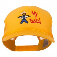 My Dad Embroidered Youth Foam Golf Mesh Cap - Gold