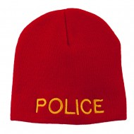 Military Police Embroidered Short Beanie - Red