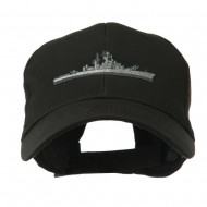 Navy Ship Missile Embroidered Cap - Black