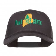 Maine Pine Tree State Embroidered Trucker Cap - Charcoal Grey