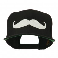 Flat Bill Mustache Embroidered Cap - Black