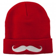 Mustache Embroidered Cuff Long Beanie - Red