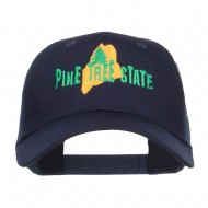 Maine Pine Tree State Embroidered Trucker Cap - Navy