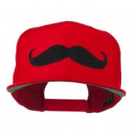 Flat Bill Mustache Embroidered Cap - Red