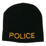 Military Police Embroidered Short Beanie - Black