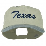 Mid State Texas Embroidered Big Size Washed Cap - Putty Navy