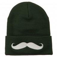 Mustache Embroidered Cuff Long Beanie - Olive