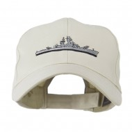 Navy Ship Missile Embroidered Cap - Stone