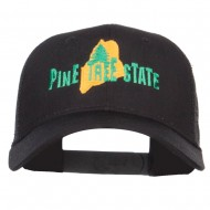 Maine Pine Tree State Embroidered Trucker Cap - Black