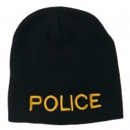 Military Police Embroidered Short Beanie - Navy