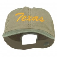 Mid State Texas Embroidered Big Size Washed Cap - Khaki Olive