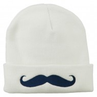 Mustache Embroidered Cuff Long Beanie - White