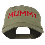 Mummy Embroidered Pet Spun Washed Cap - Olive