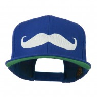 Flat Bill Mustache Embroidered Cap - Royal