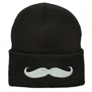 Mustache Embroidered Cuff Long Beanie - Grey