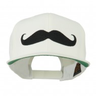 Flat Bill Mustache Embroidered Cap - White