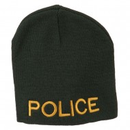 Military Police Embroidered Short Beanie - Olive
