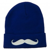 Mustache Embroidered Cuff Long Beanie - Royal