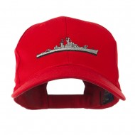 Navy Ship Missile Embroidered Cap - Red