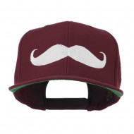 Flat Bill Mustache Embroidered Cap - Maroon
