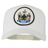 Maine State Patched Mesh Cap - White